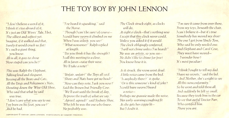 Lennon Toy Boy poem - Tony Barrell